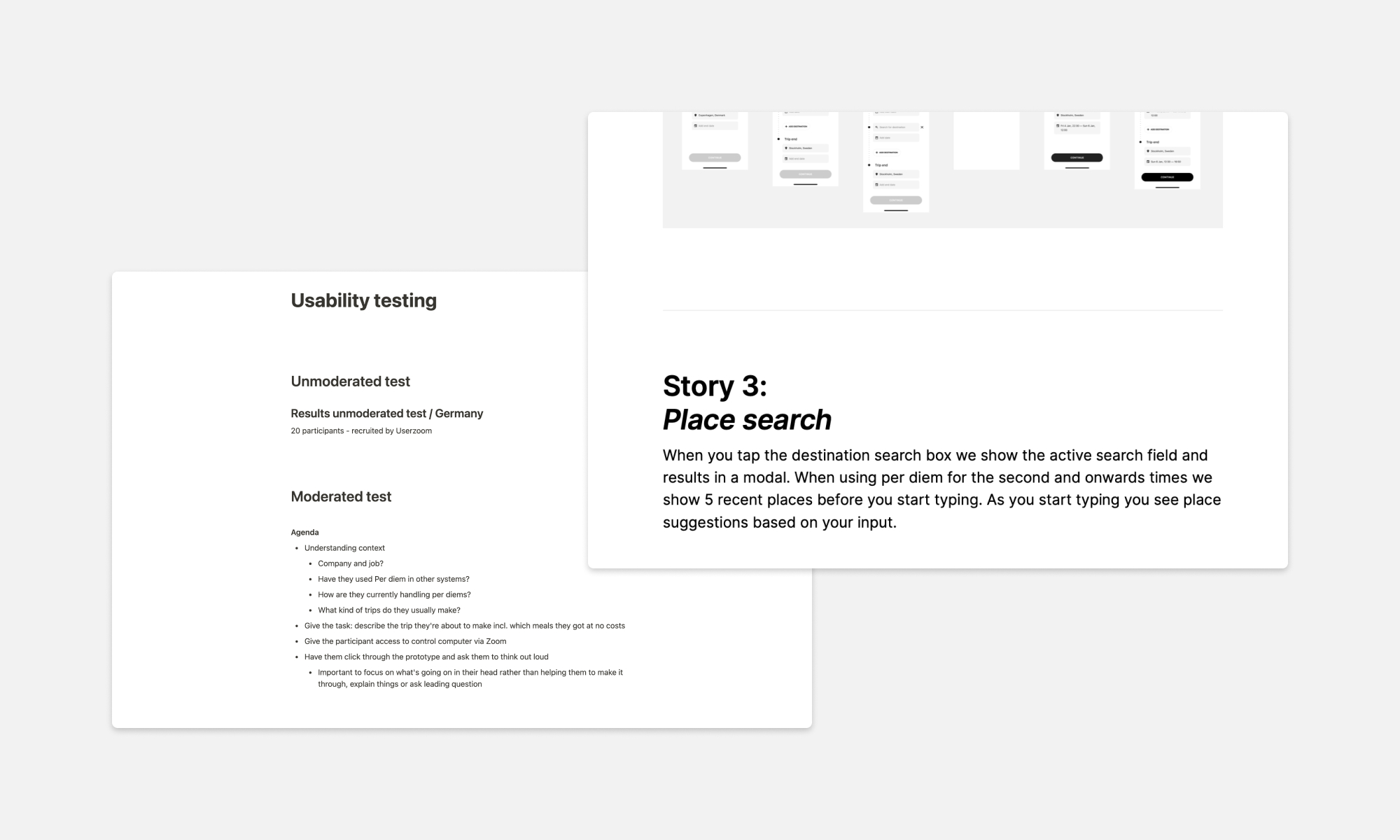 Planning for user testing and design documentation