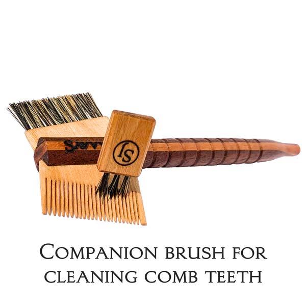SavvyJack Mustache Tomahawk - Walnut and Cherry - companion comb