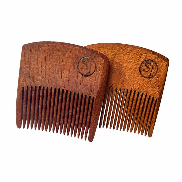 Mustache Pocket Pick Comb - light and dark Ipe