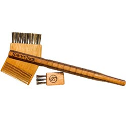 Savvy Jack Tomahawk mustache comb and boars hair brush. Handcrafted in the USA.