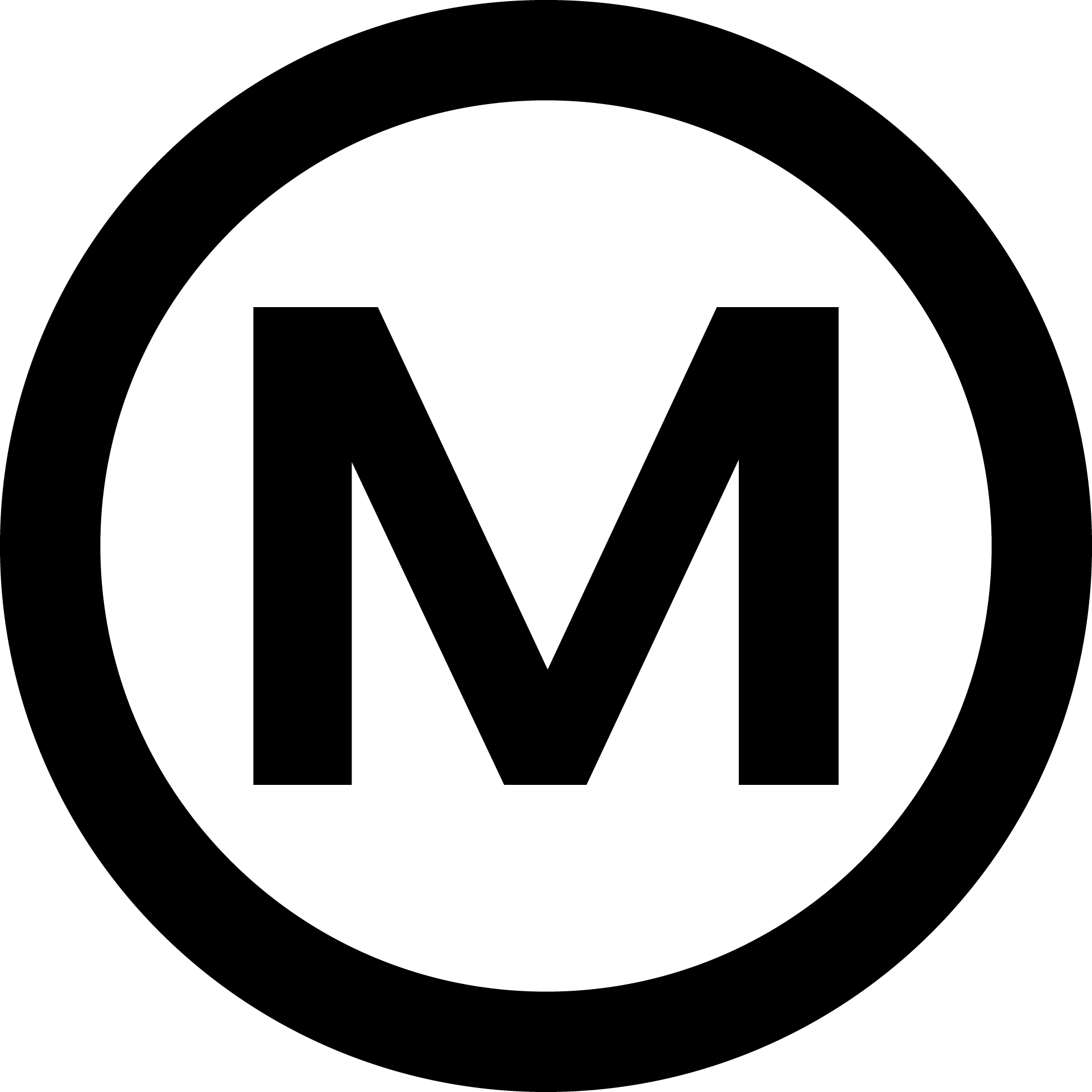 The Miscreants Logo, a bold M in a bold circle