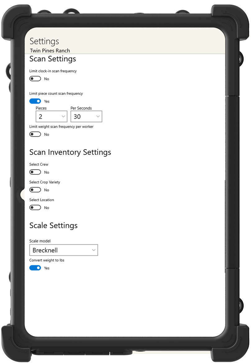Configurable Settings - Best Time Clock App for Farmers - Time Tracking App - HarvestPay - H2A Visa Program