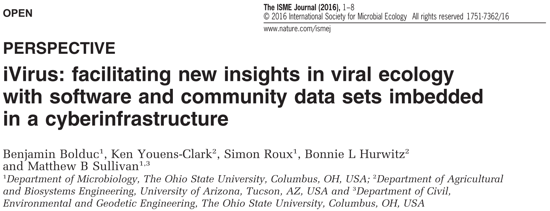 Screenshot of iVirus publication title - iVirus: facilitating new insights in viral ecology with software and community data sets imbedded in a cyberinfrastructure.
