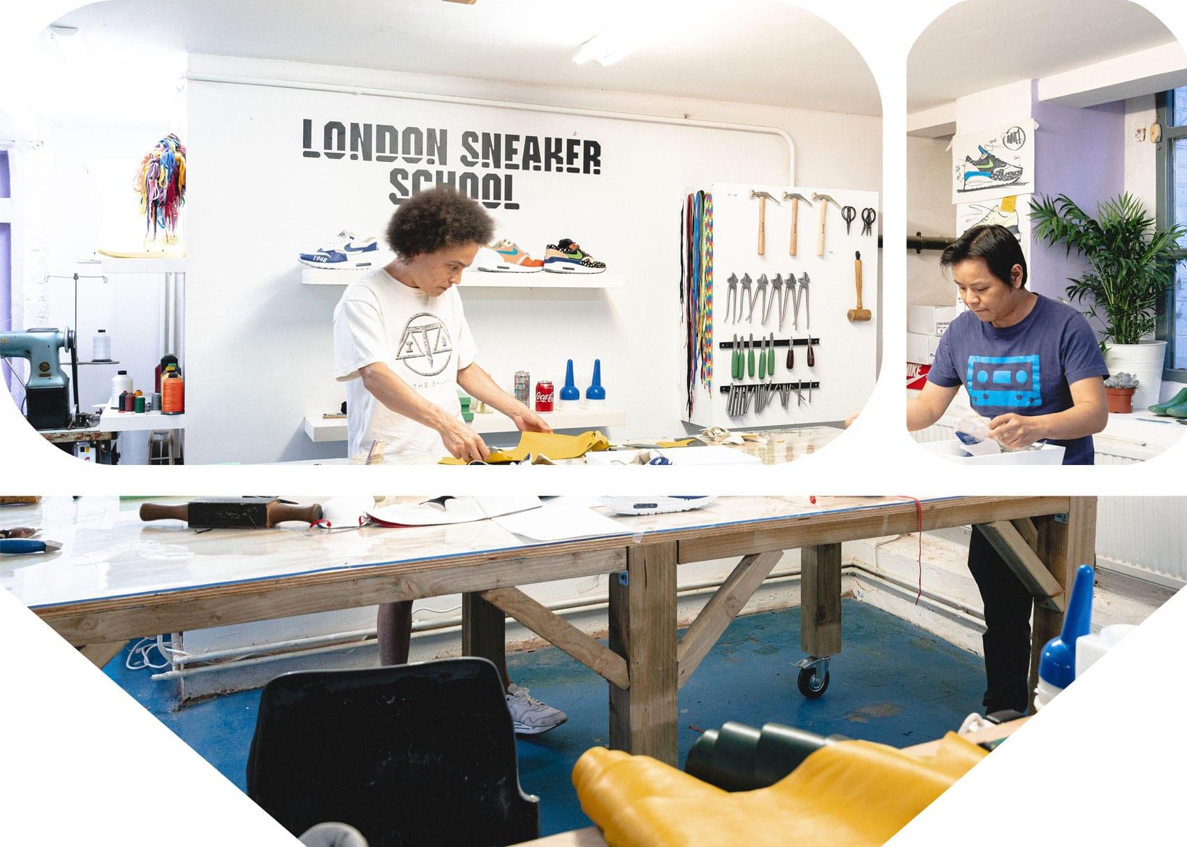 Student shoemakers at London Sneaker School