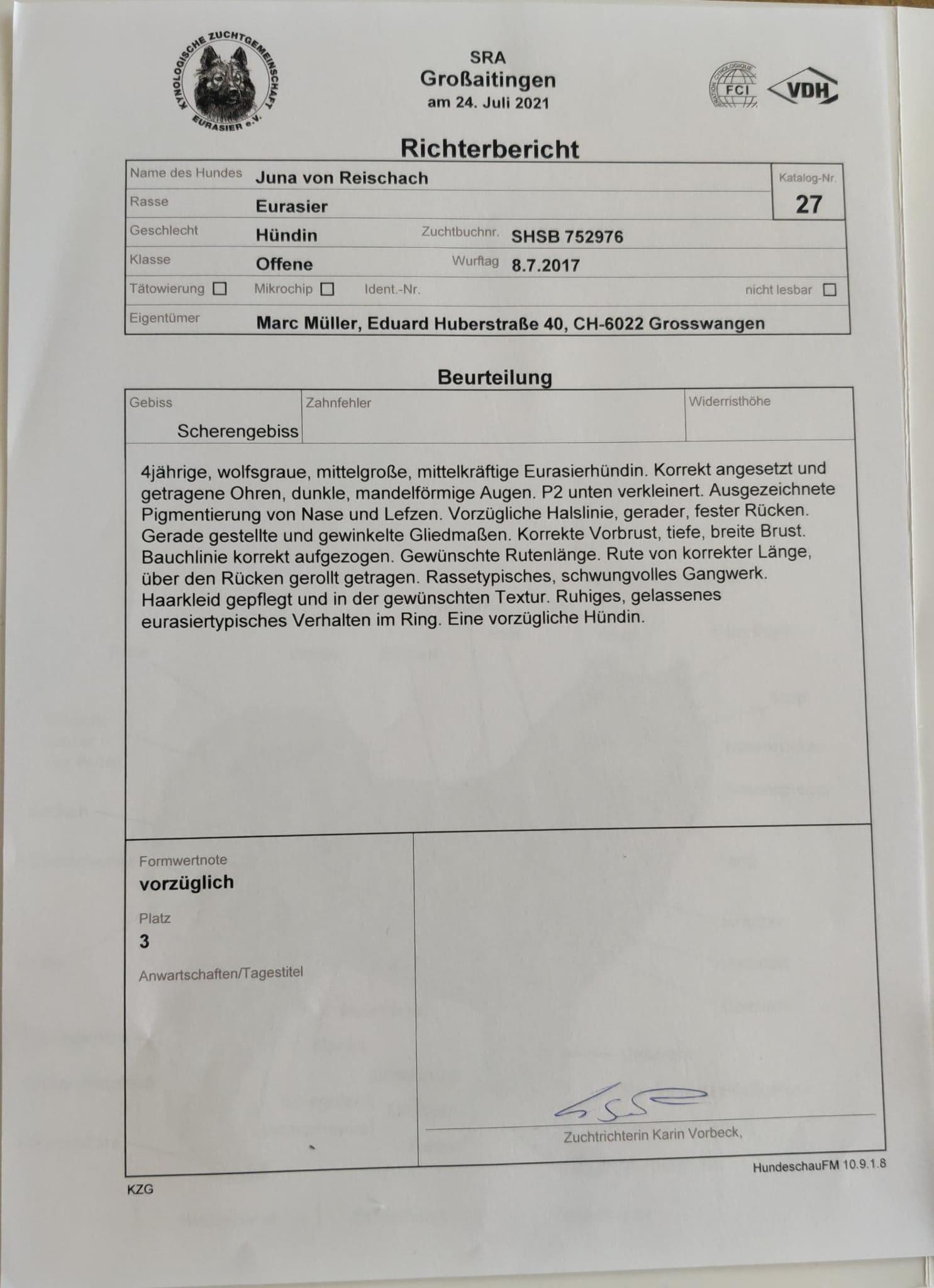 Richterbericht Juna von Reischach