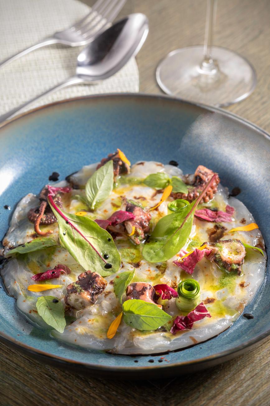 Ceviche de daurade et poulpe vinaigrette mangue-romarin, copeaux de légumes