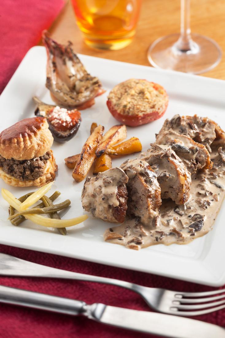 Andouillette de faisan sauce forestière aux cèpes