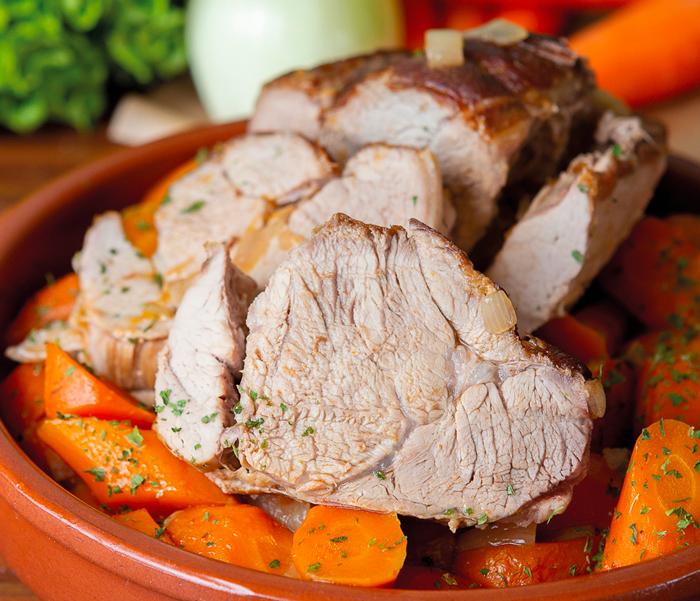 Rôti de veau braisé aux carottes