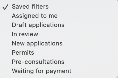List of available filters.