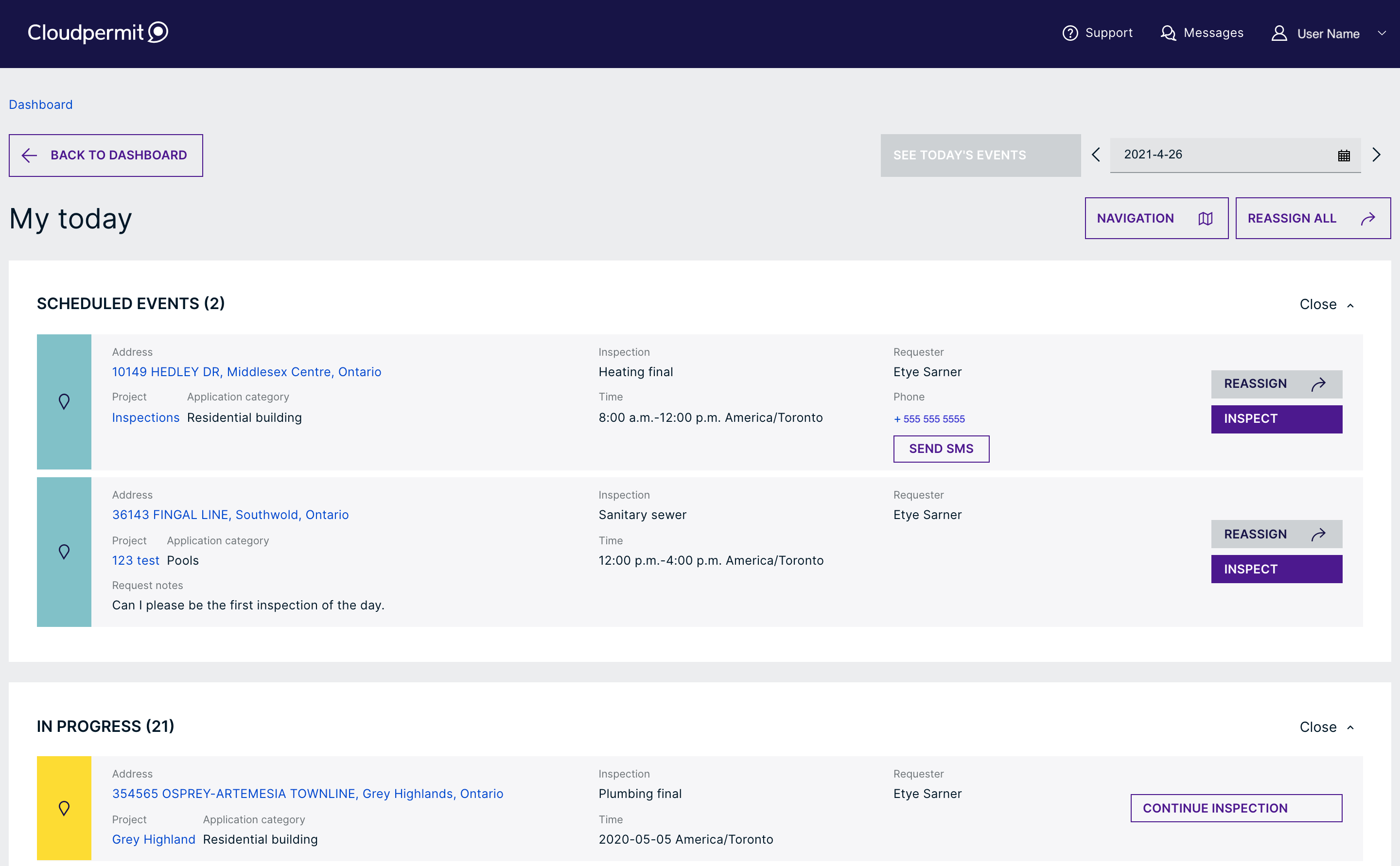 View of scheduled events for inspector in the Cloudpermit software.