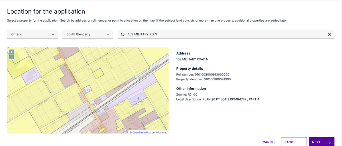 View of selecting application location.