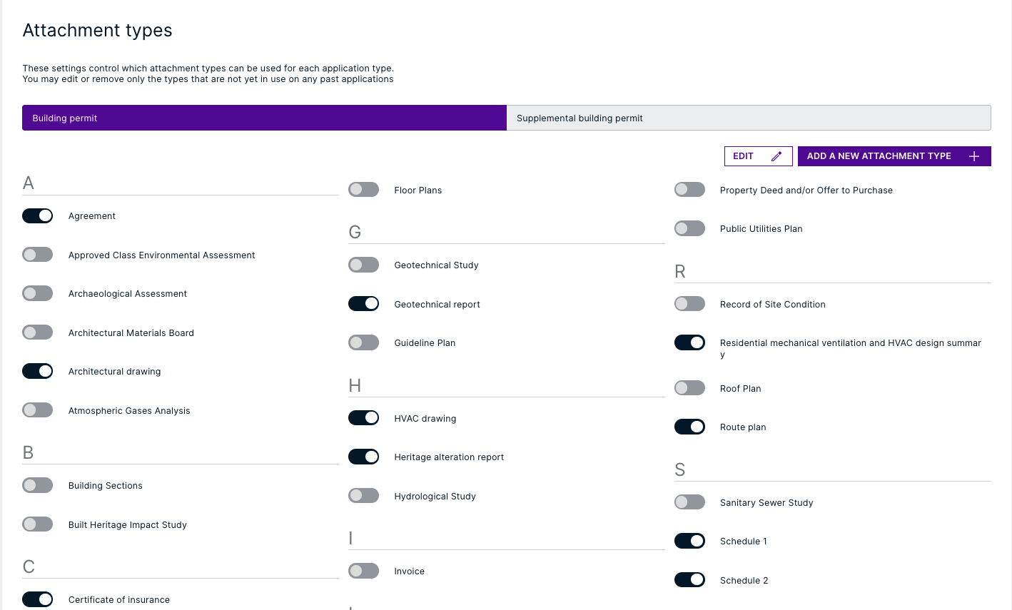 View of selecting Attachment types.
