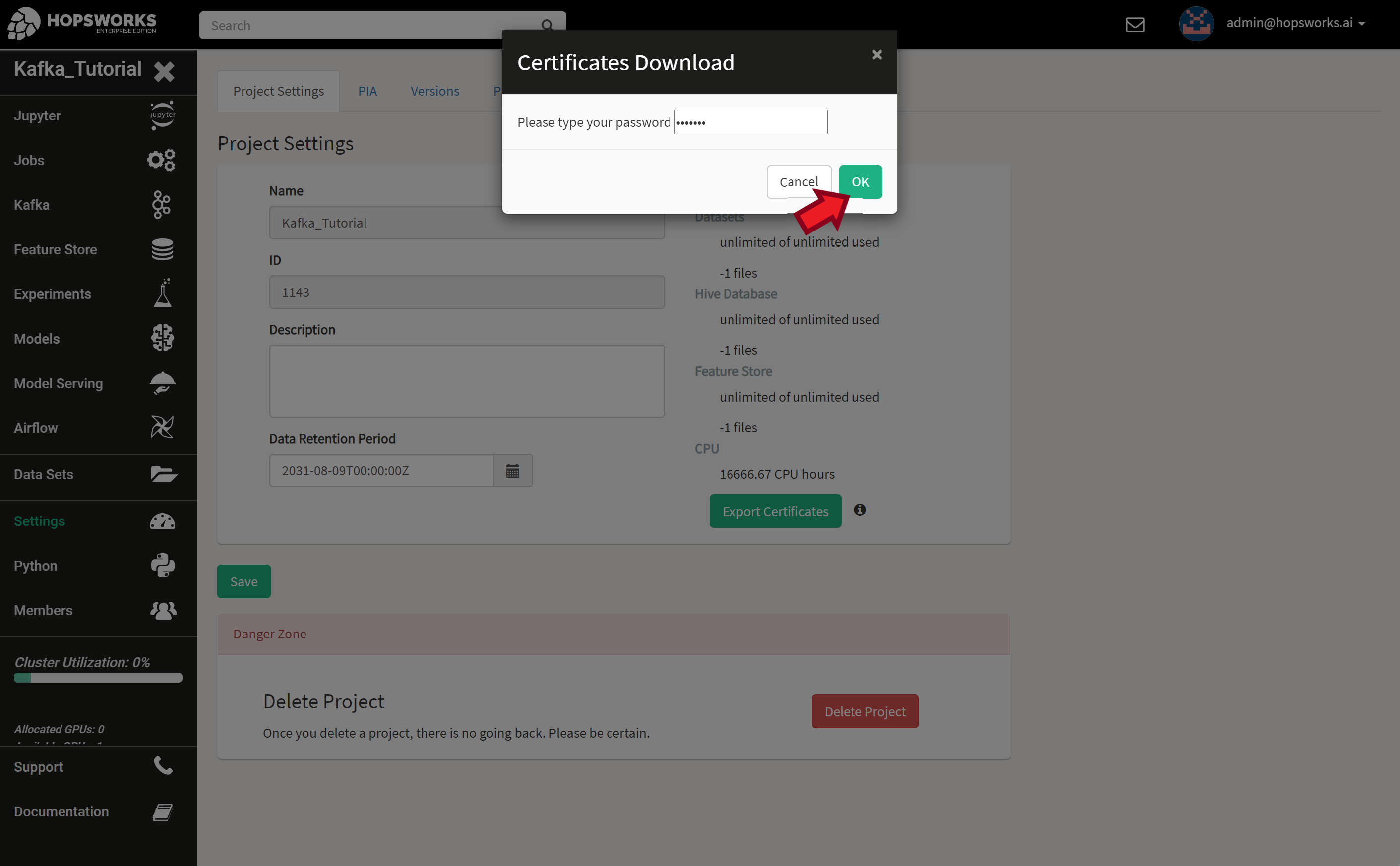 Exporting project certificates (1/2)