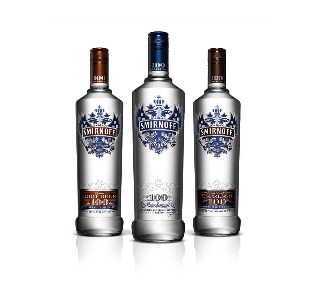 Smirnoff Vodka No. 57 100 Proof bottle design
