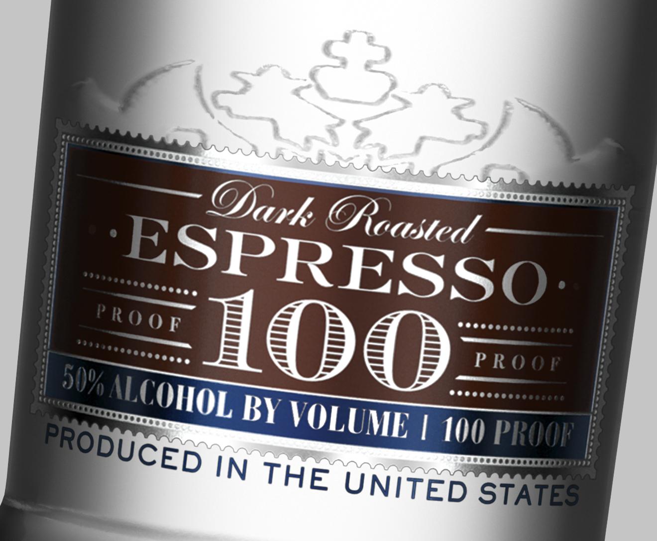 smirnoff 100 proof vodka espresso flavor footer label design detail