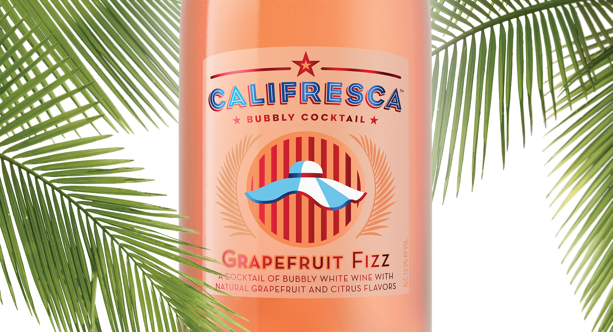 Califresca Bubbly Wine Cocktail brand identity design label detail with palm fronds