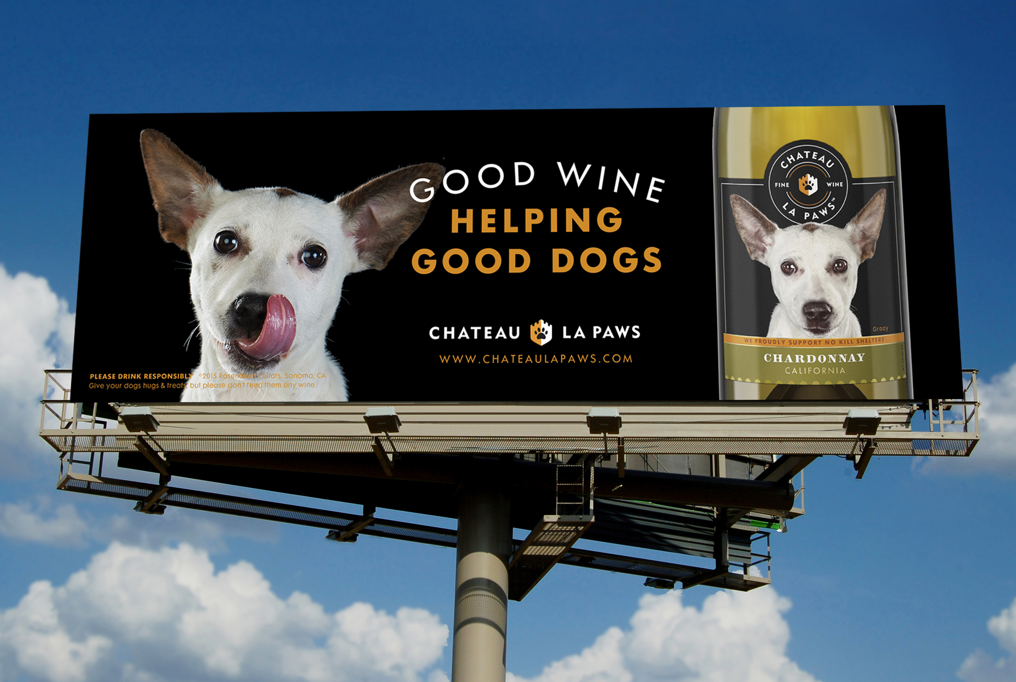 Chateau La Paws brand identity design, outdoor advertising, billboard, dog photography