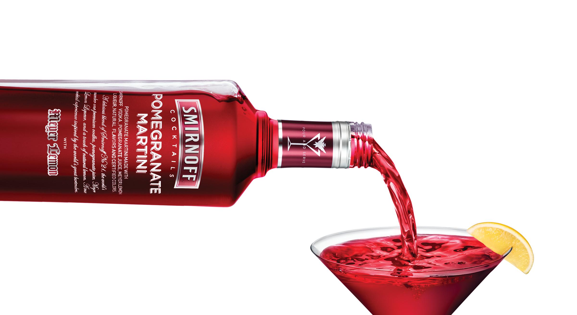 Smirnoff Cocktails Pomegranate Martini Poured