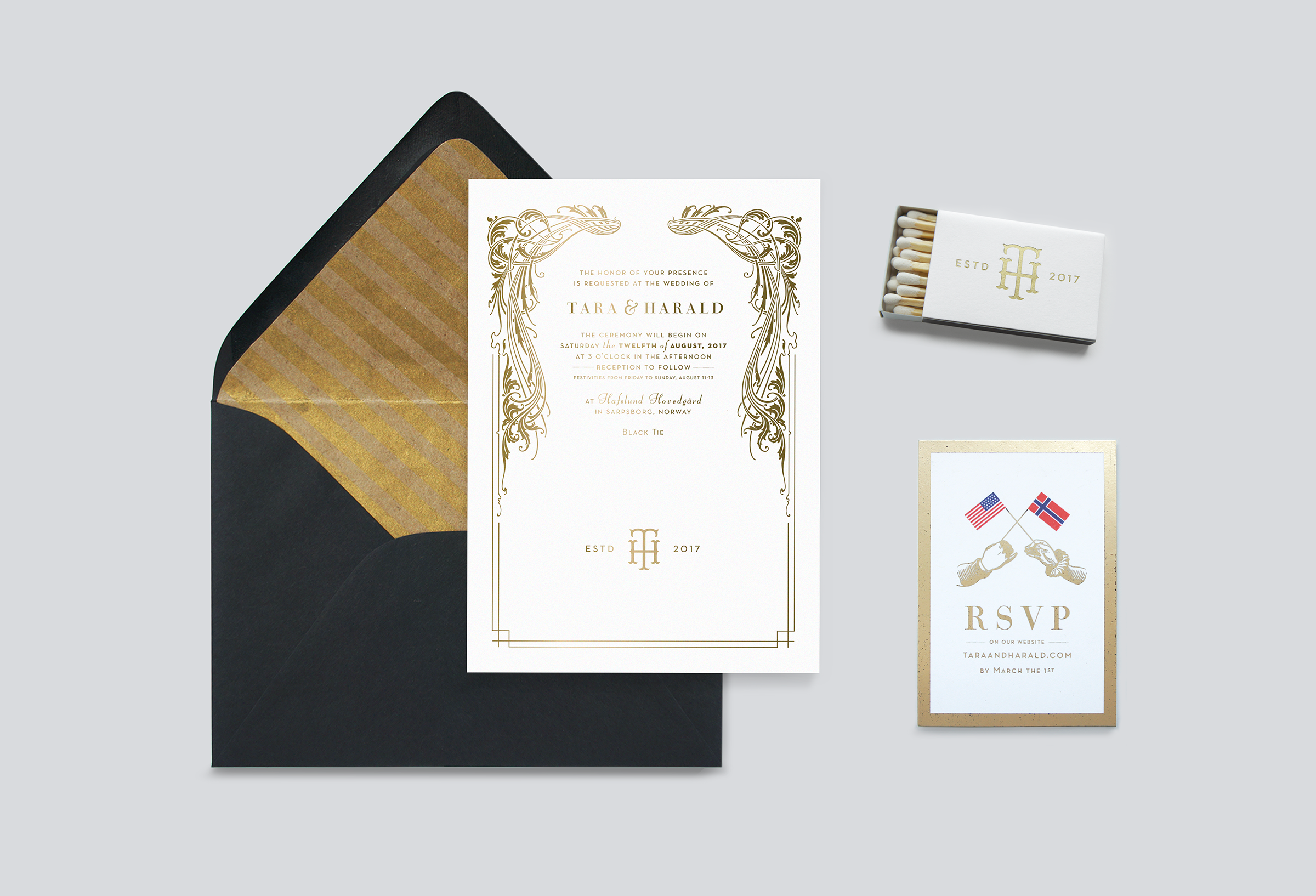 wedding invitation design, menu design, matchbook design
