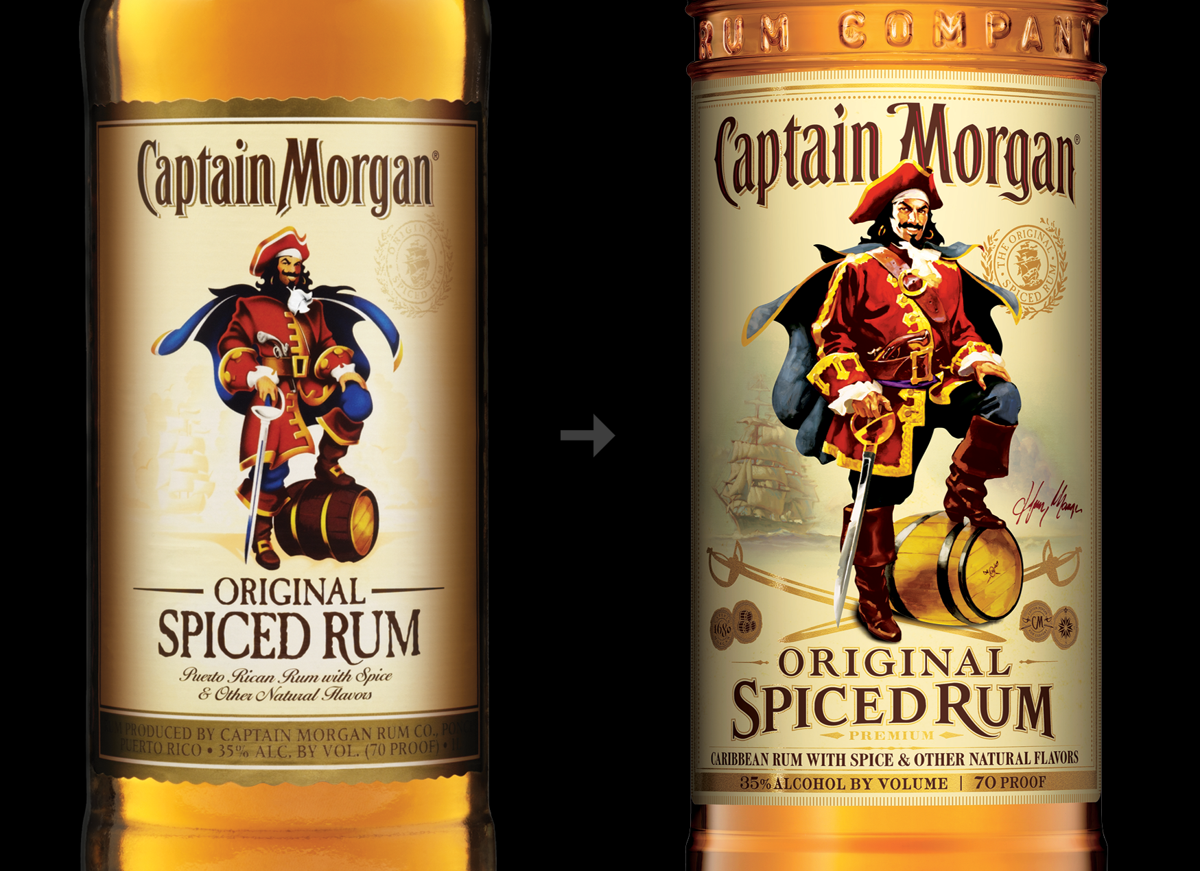 Captain Morgan Rum bottle redesign, before and after