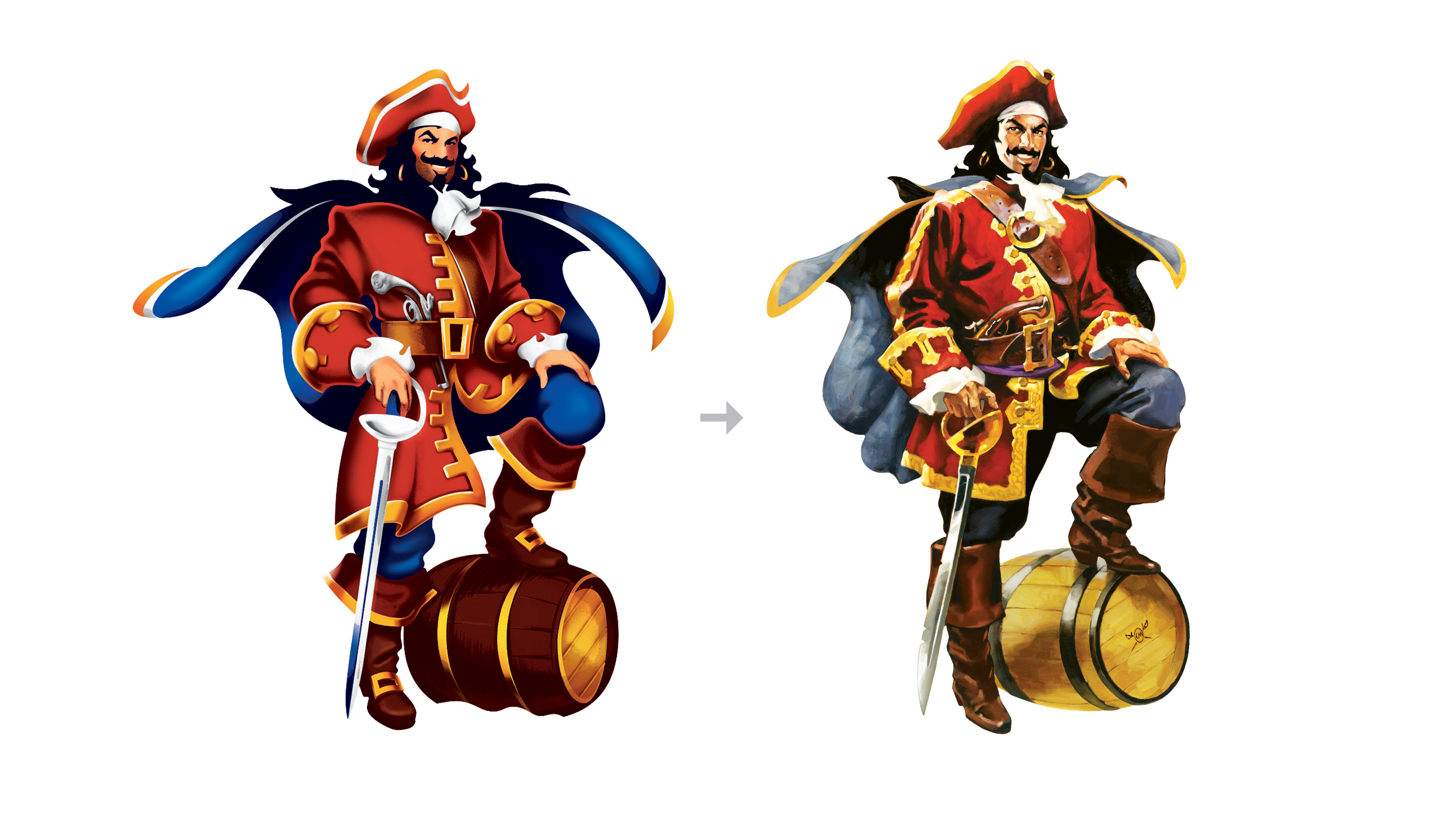 Captain Morgan Rum redesign,  before and after. new illustration by Greg Manchess