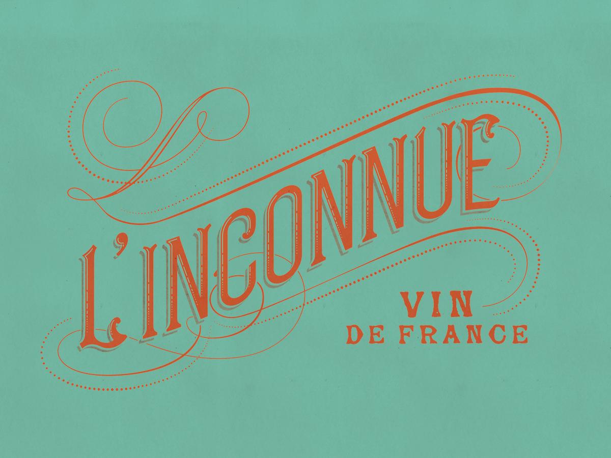 L'inconnue Wine design, custom typography