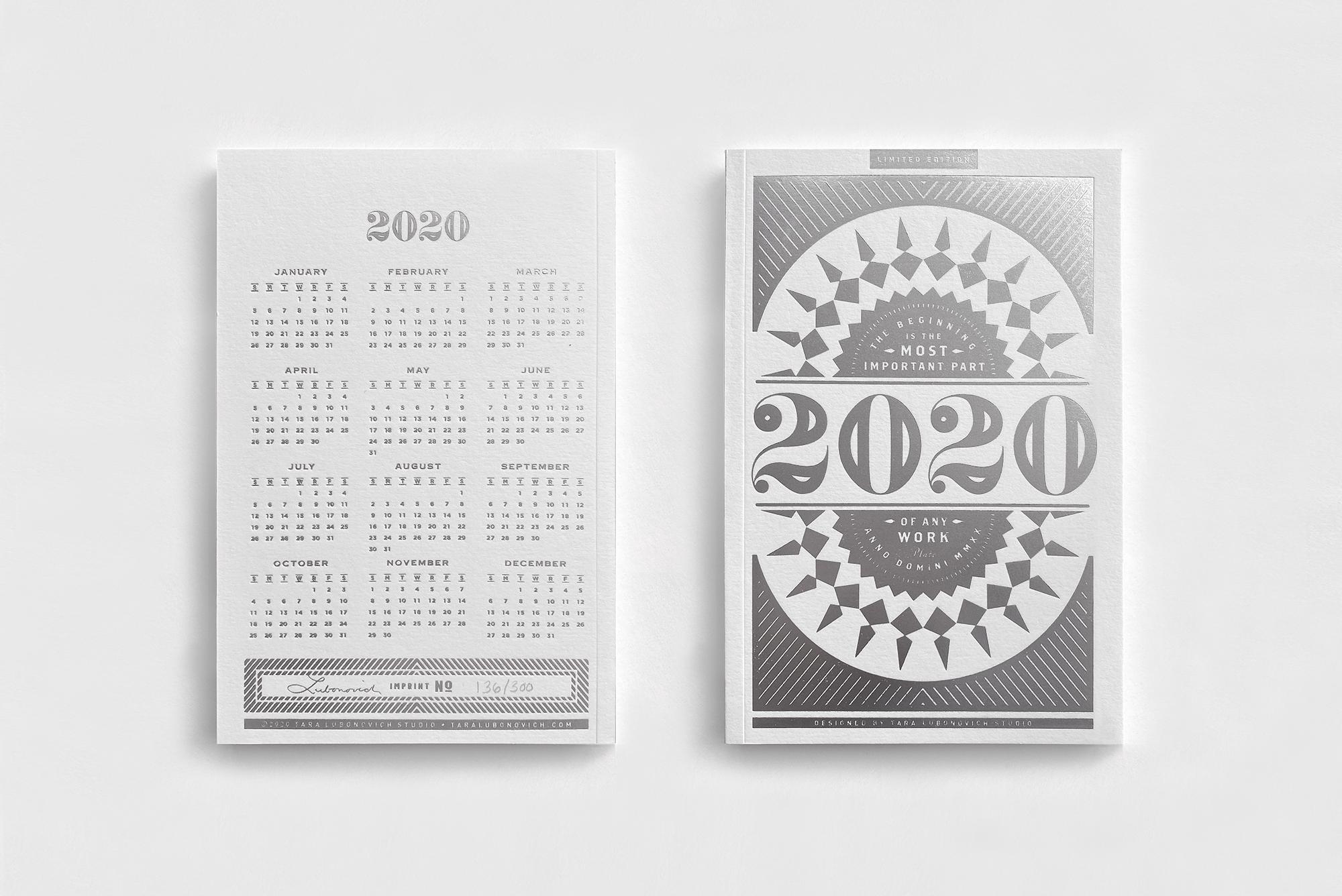 2020 Notebook calendar custom designed by Tara Lubonovich