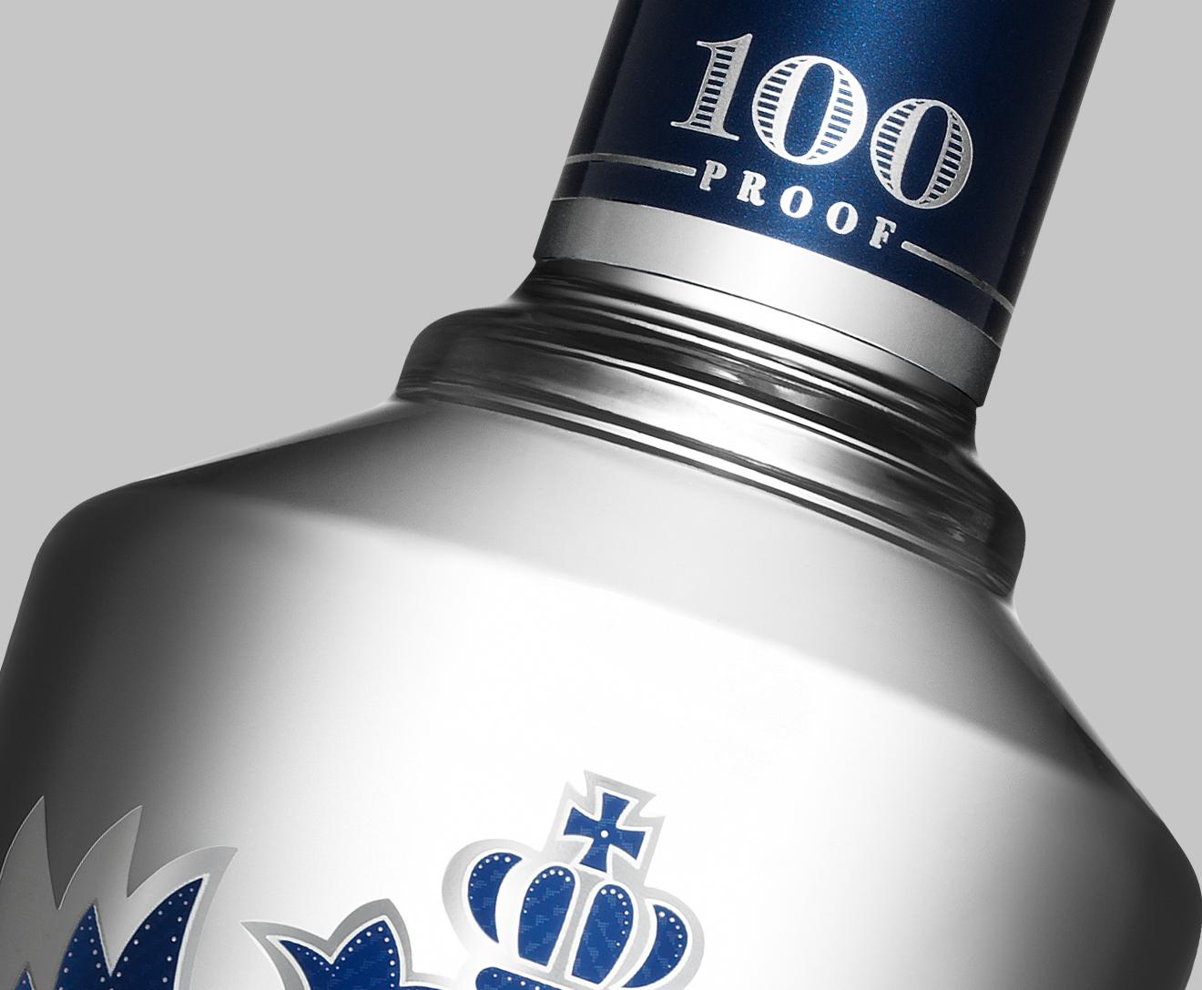 Smirnoff 100 Proof bottle design detail