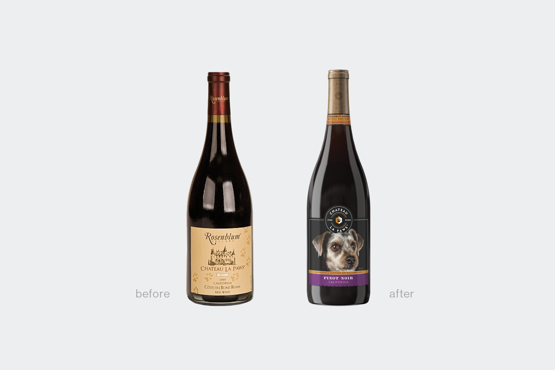 Chateau La Paws Wine redesign before and after
