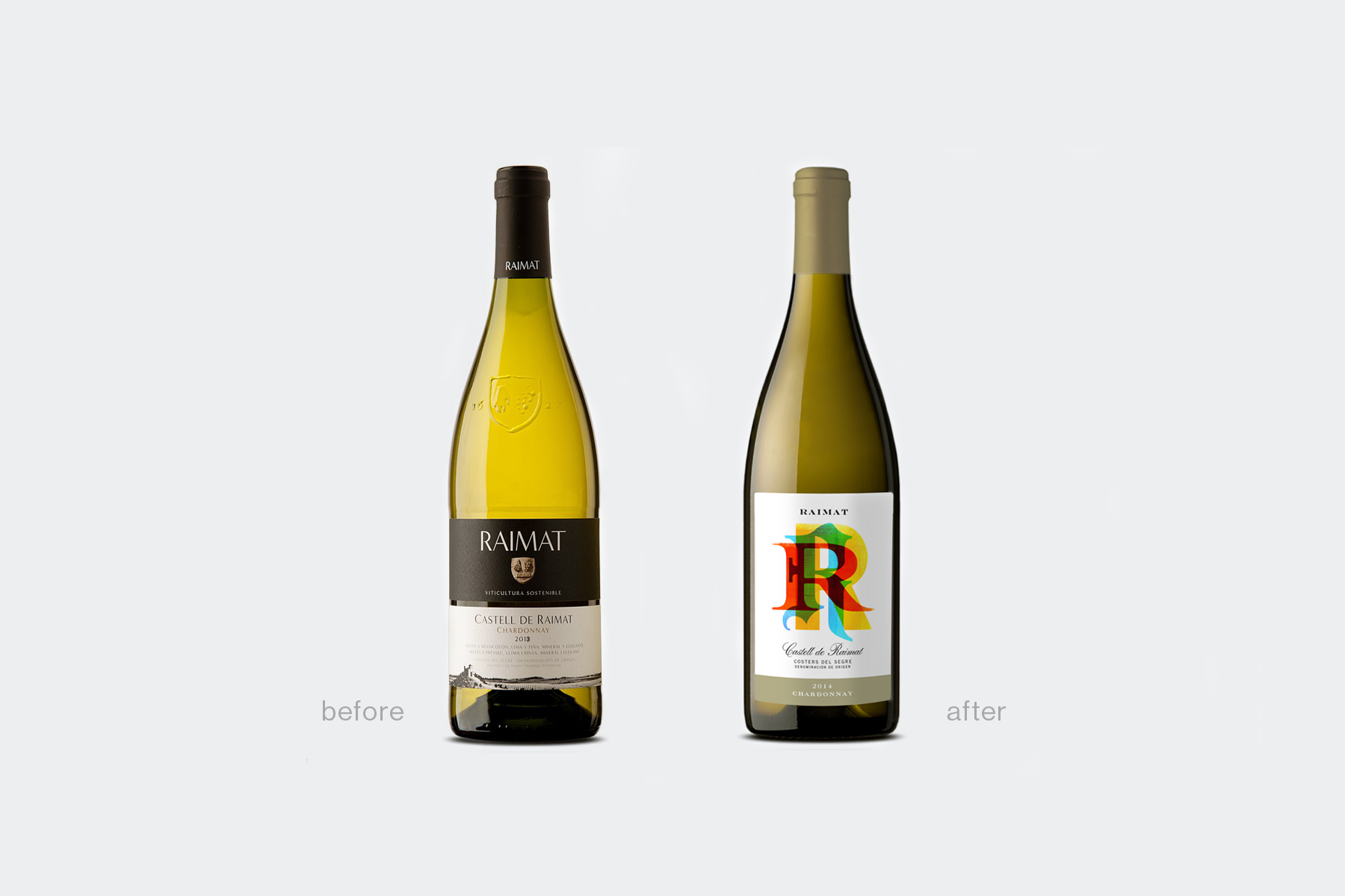 Raimat Wine redesign before and after