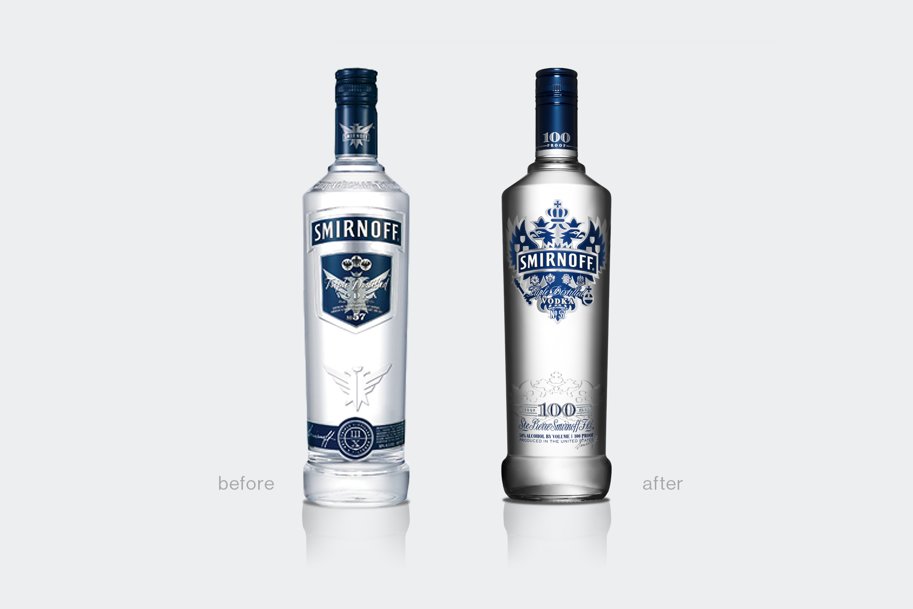 Smirnoff 100 Proof vodka redesign, before and after