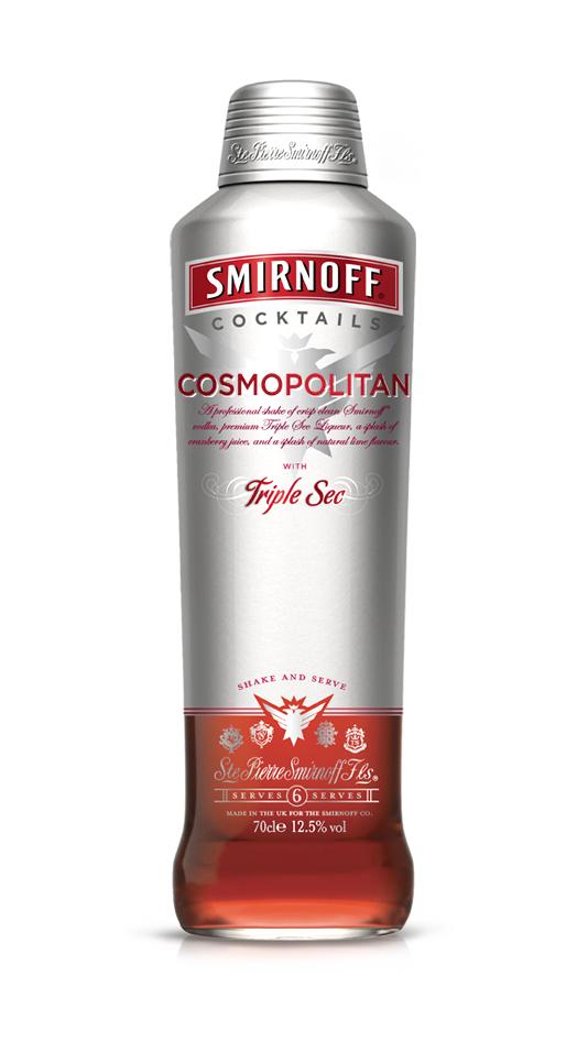 Smirnoff Cocktails bottle design for Europe and United Kingdom cosmopolitan