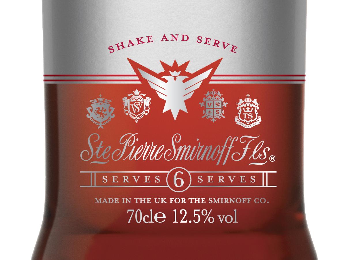 Smirnoff Cocktails bottle design for Europe and United Kingdomm, cosmopolitan label detail