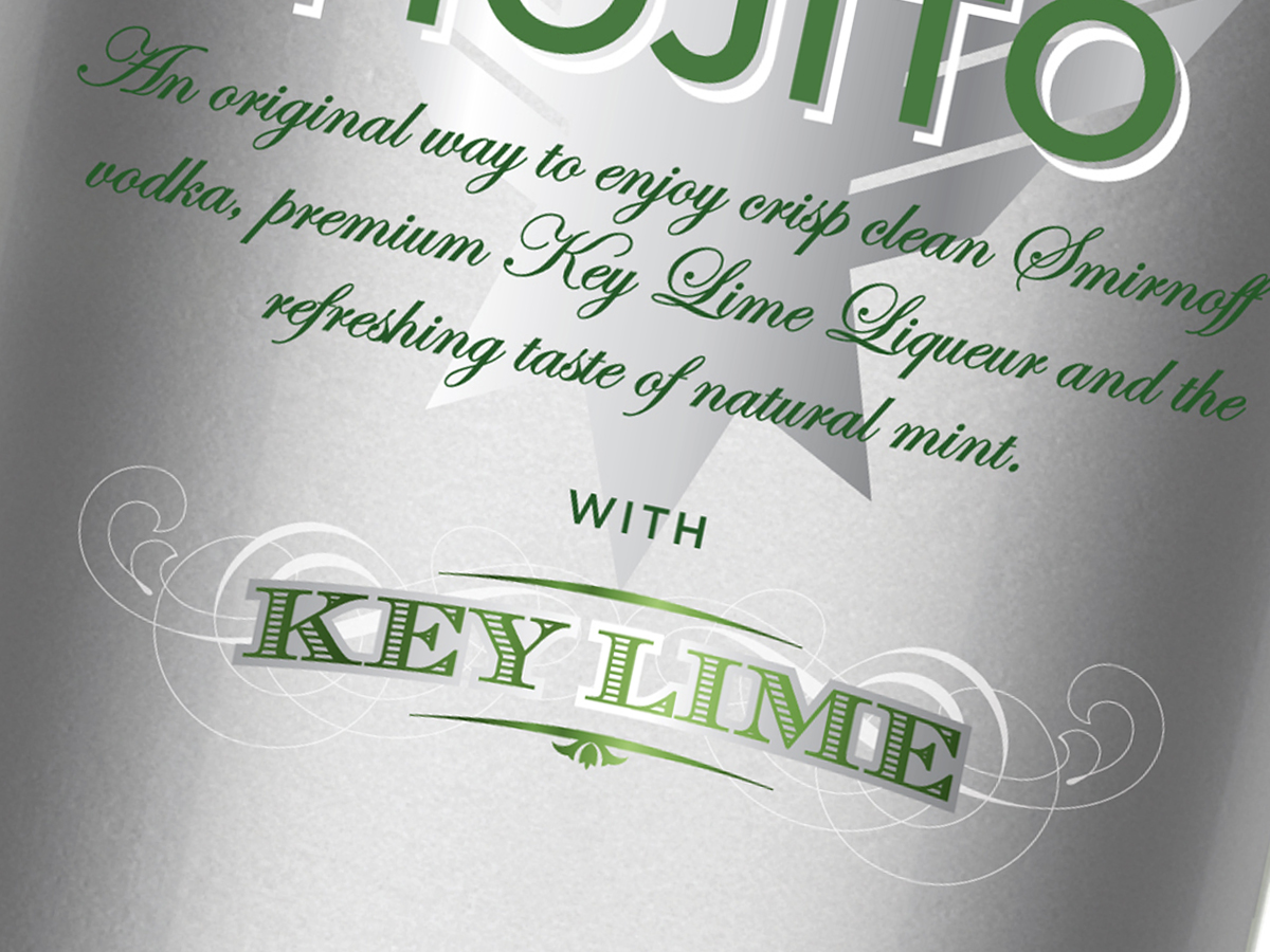Smirnoff Cocktails bottle design for Europe and United Kingdomm, mojito label detail