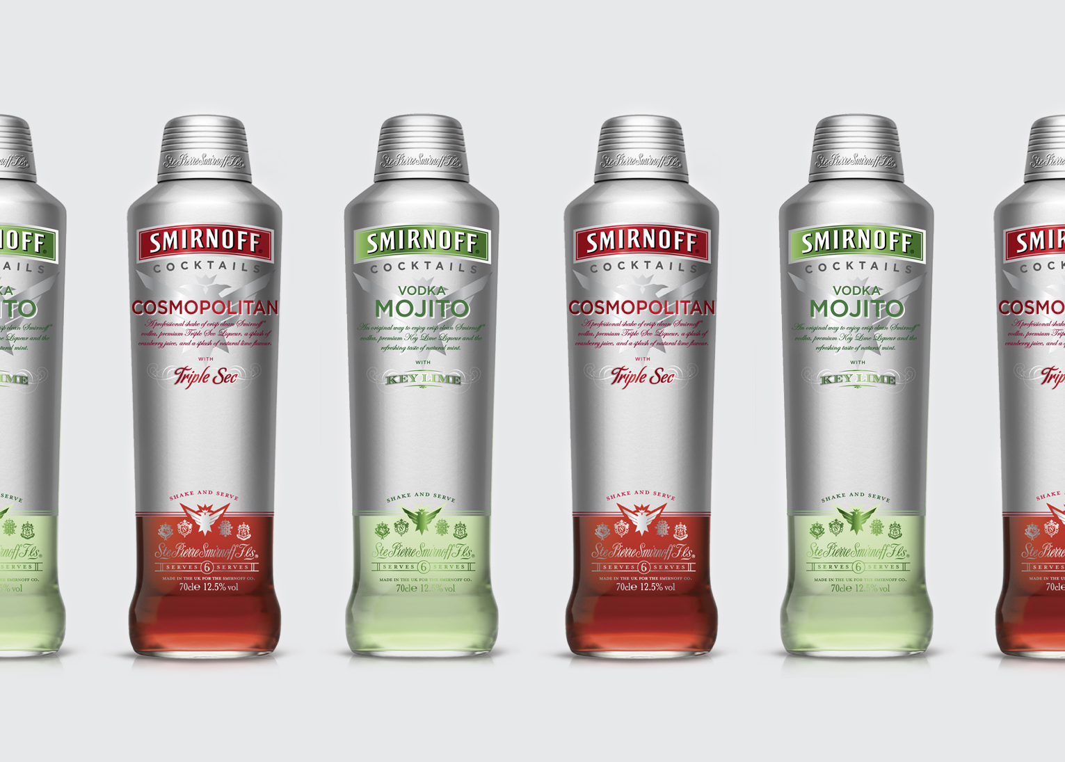 Smirnoff Cocktails bottle design for Europe and United Kingdomm, cosmopolitan and mojito