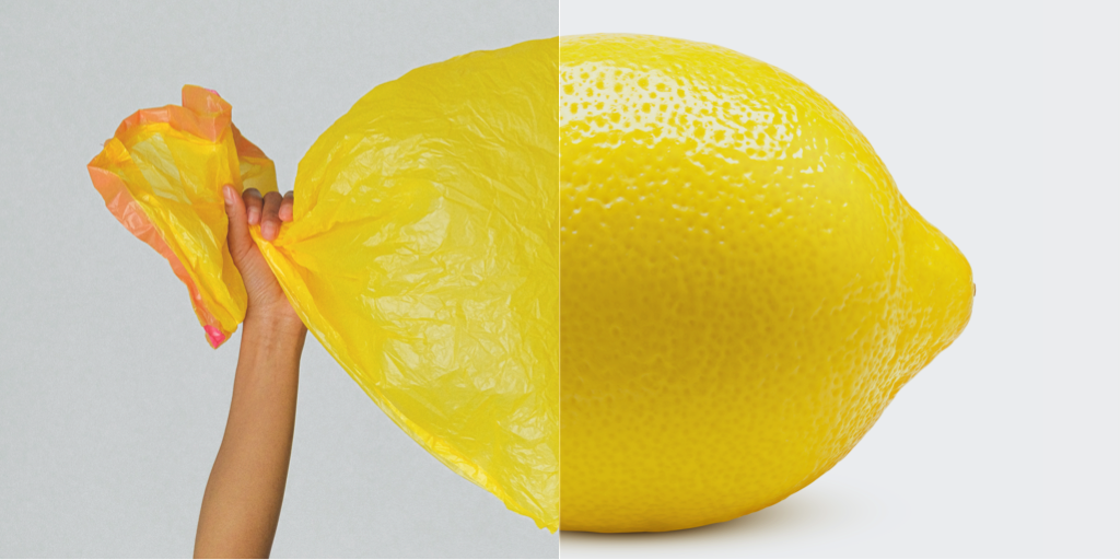 Split image of a yellow plastic bag and a lemon to show the importance of climate action to solve climate change.