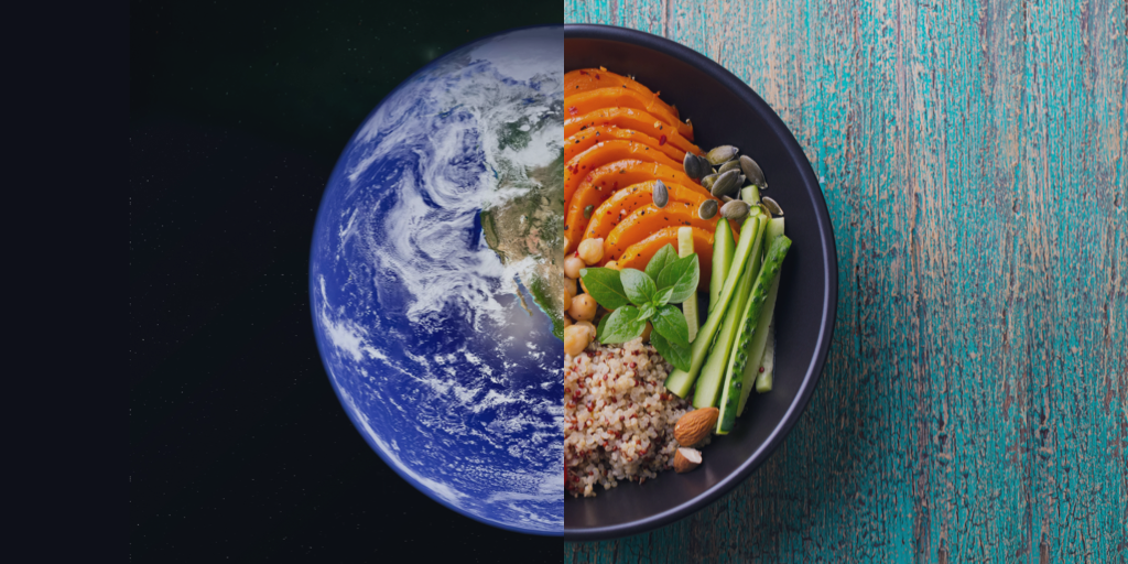 Split image of the planet and  a plant-based meal in a bowl to display the role of food and diet on the climate crisis