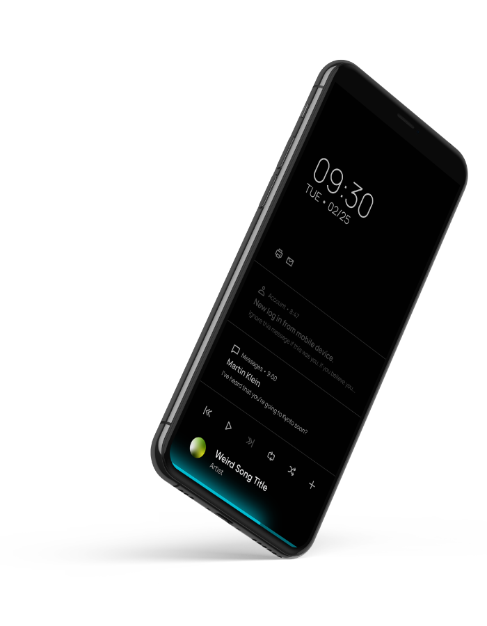 Phone displaying Lumina Design interface.