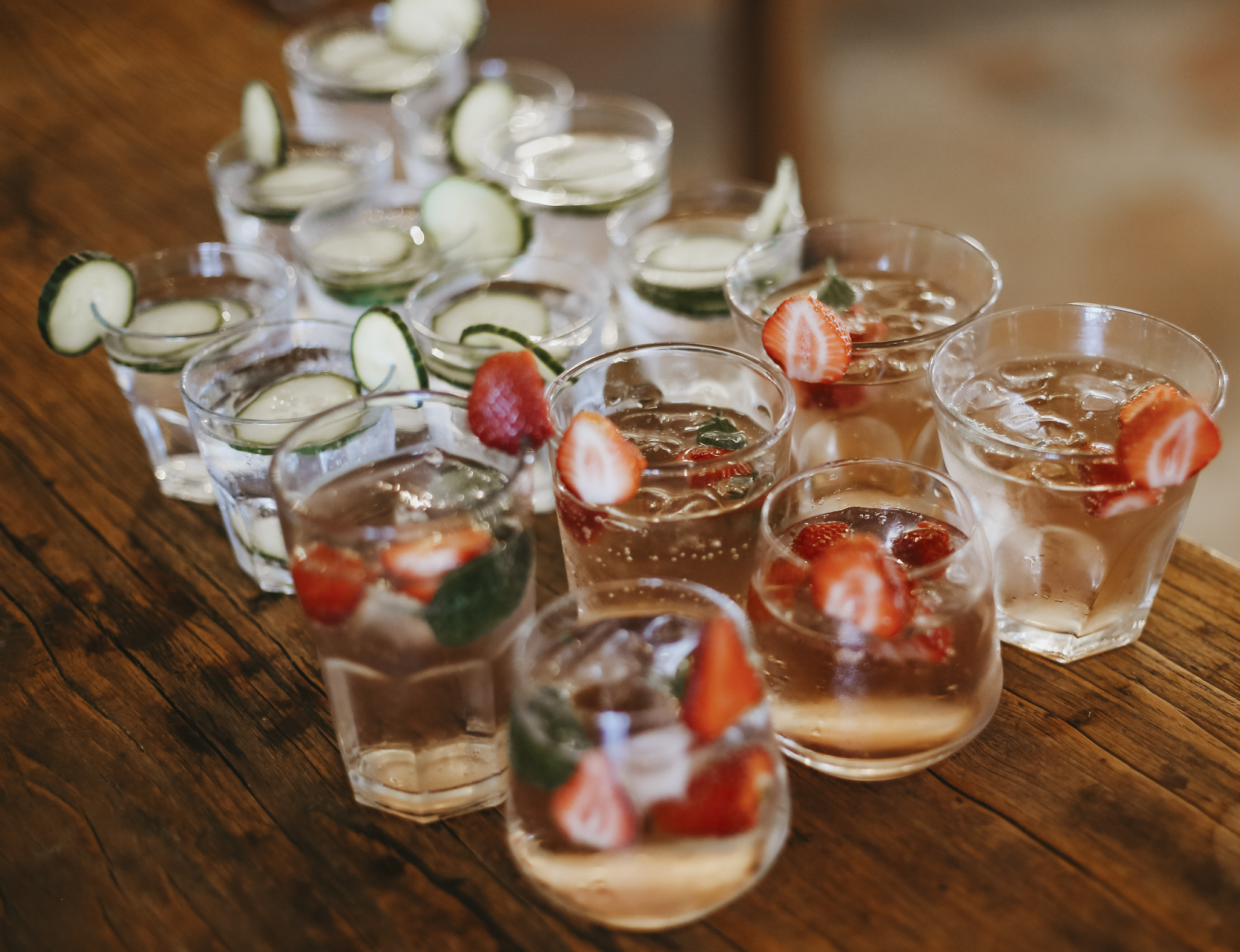 Strawberry and cucumber cocktails