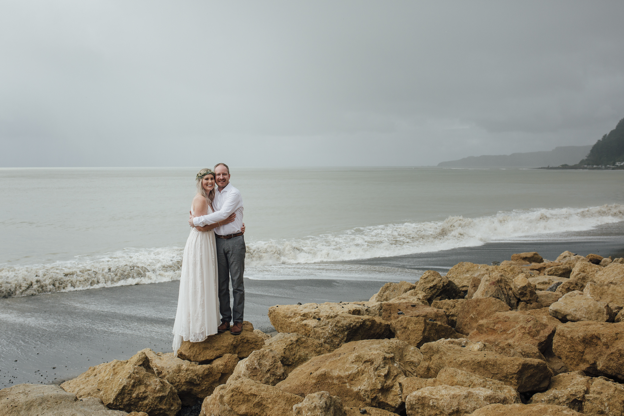 Newlyweds with Cape Kidnappers in the background