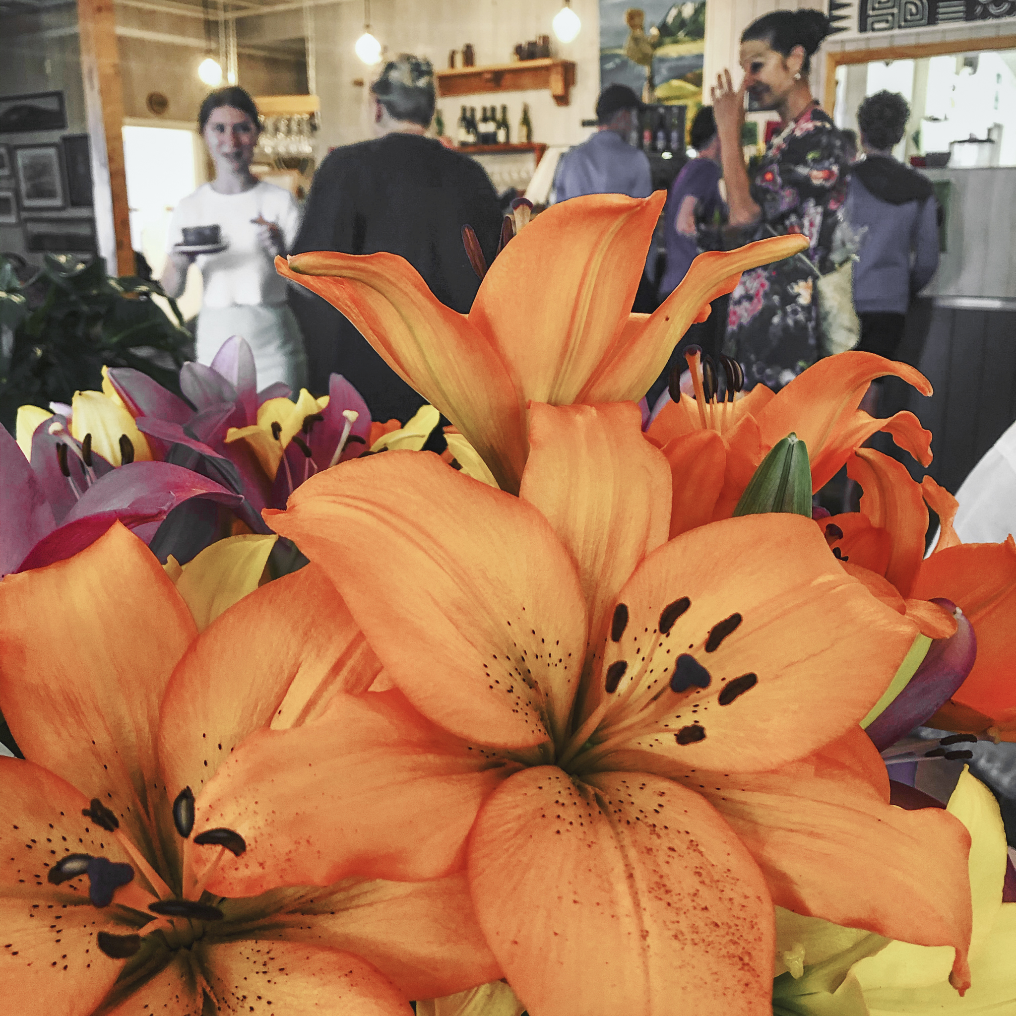 Flowers inside the cafe