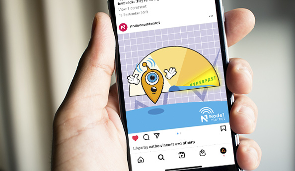 Instagram ad for Node 1 Internet. Flametree Creative designs and optimise graphics for social media