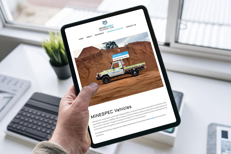 Minespec Hire website in an iPad.