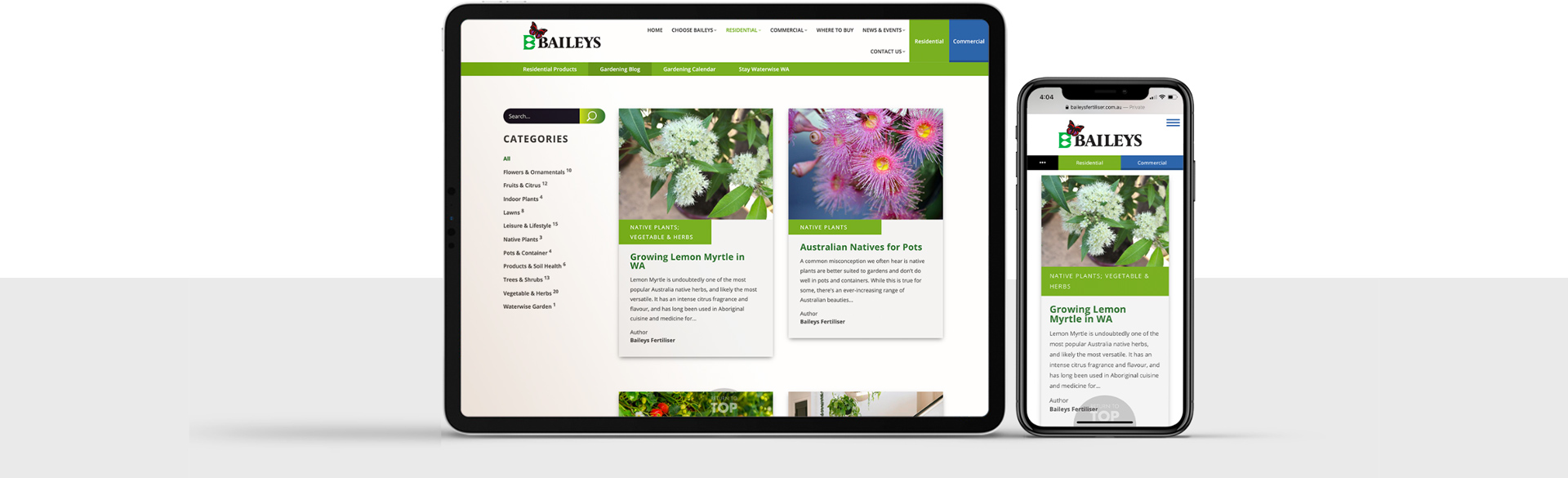 Website design for Baileys Fertiliser