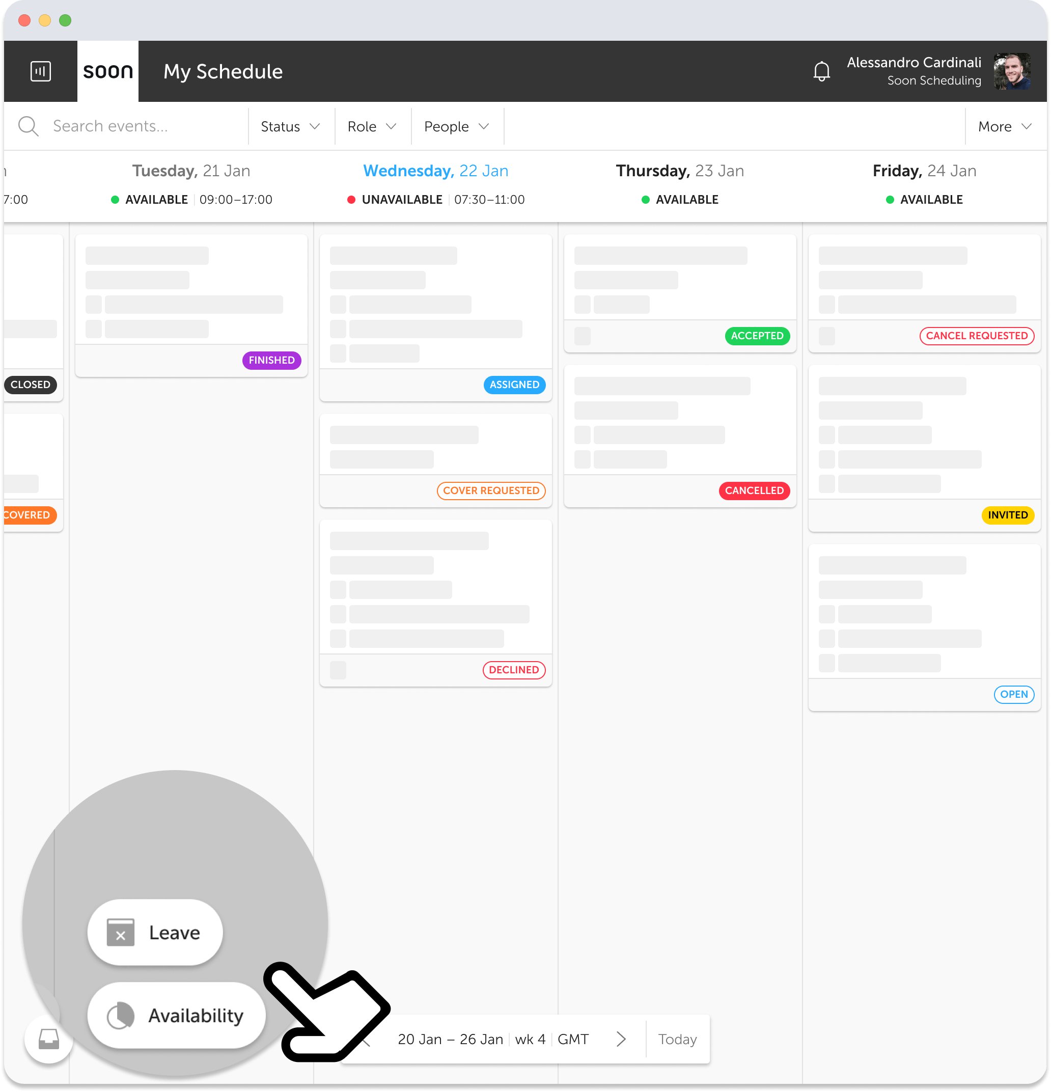 Personal schedule highlighting leave and availability management