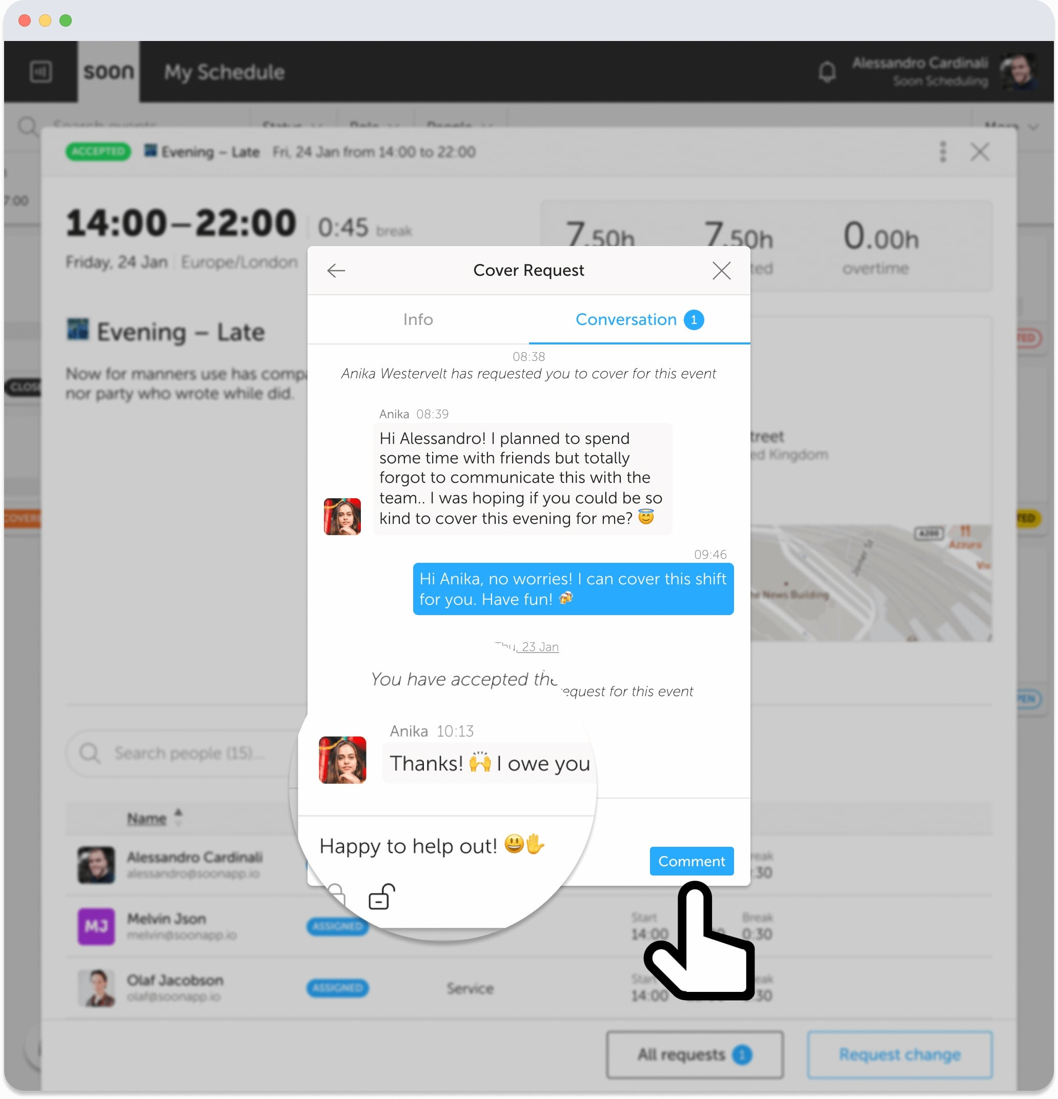 Soon shift change request showing a conversation