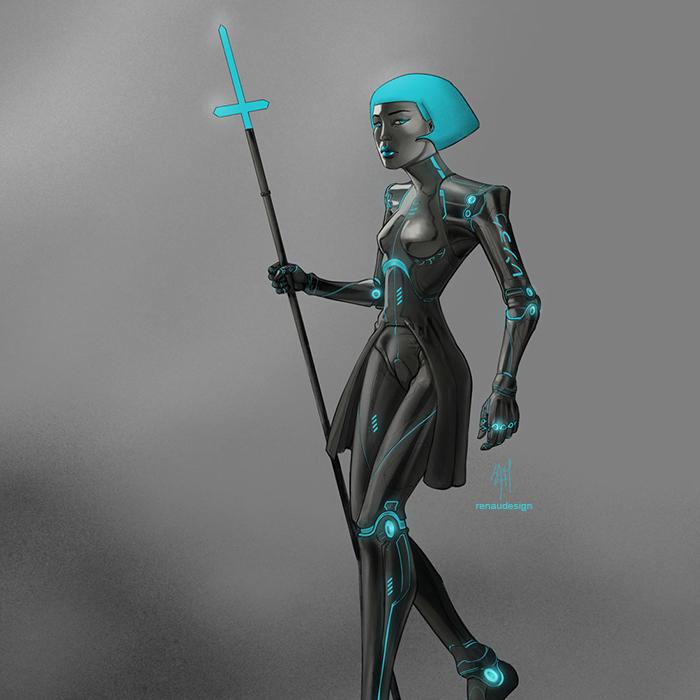 Cyan, a shadowrun cyborg, a bodyguard.