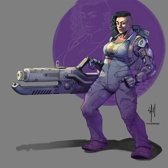 Mama, a shadowrun female orc with a big flamethrower