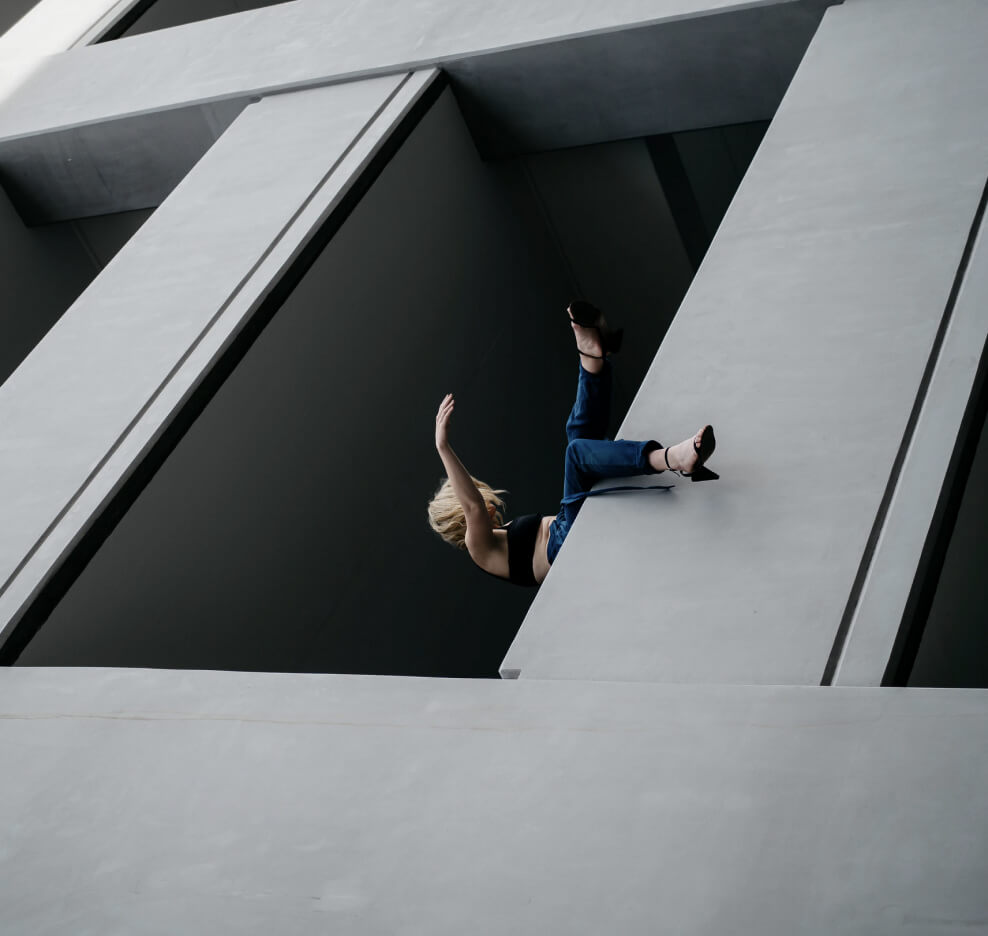 Picture of a Woman in Concrete Building
