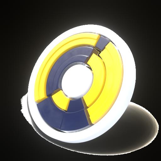 Icono de servicios, una rueda de piechart hecho de amarillo, azul oscuro y blanco. Simbolo de los servicios de Bemel